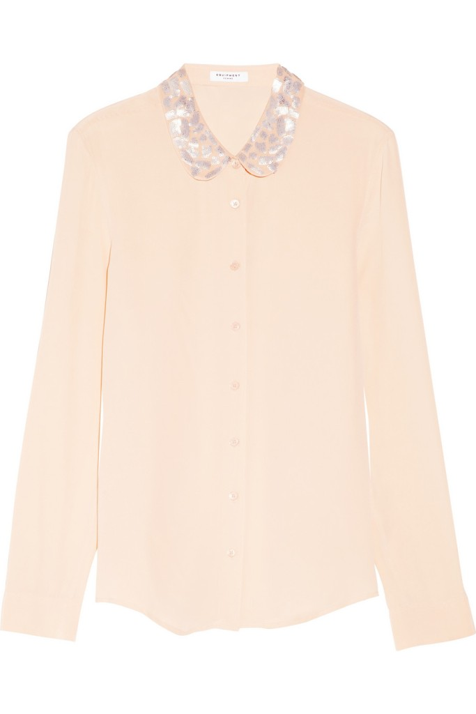 Sophie embellished washed-silk shirt in Blush by Equipment. $120.