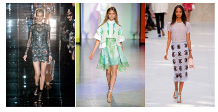 (From left to right: Tom Ford, Peter Pilotto, Burberry Prorsum; images courtesy of harpersbazaar.com)