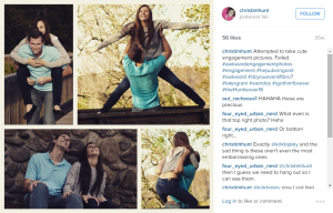 A screenshot of Christina's Instagram using various hashtags.